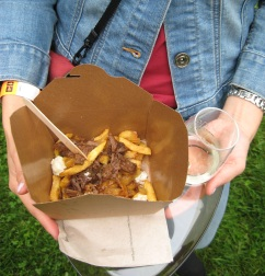 Elk Goulash Poutine with 5 year old Black River Cider